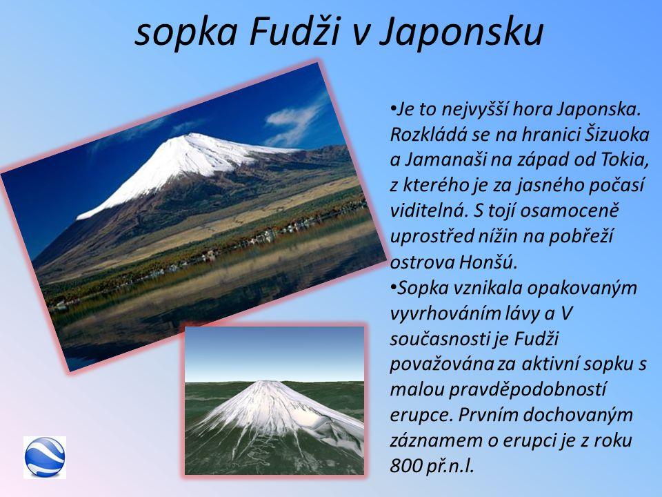 sopka Fudži v Japonsku Je to nejvyšší hora Japonska.