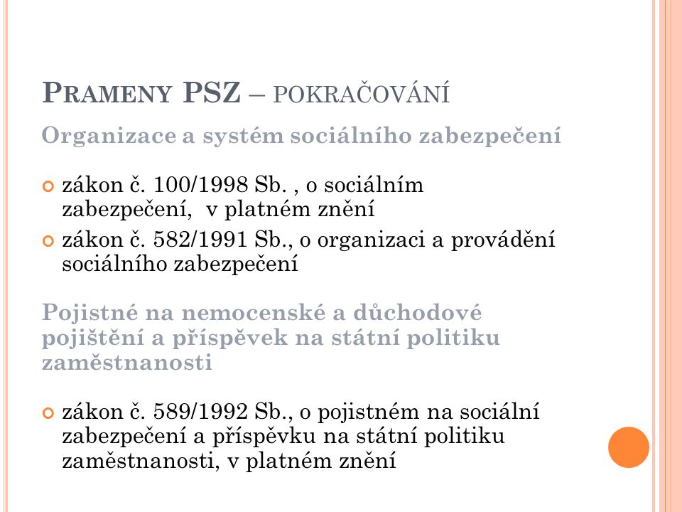 Organizace a systém sociálního zabezpečení zákon č.