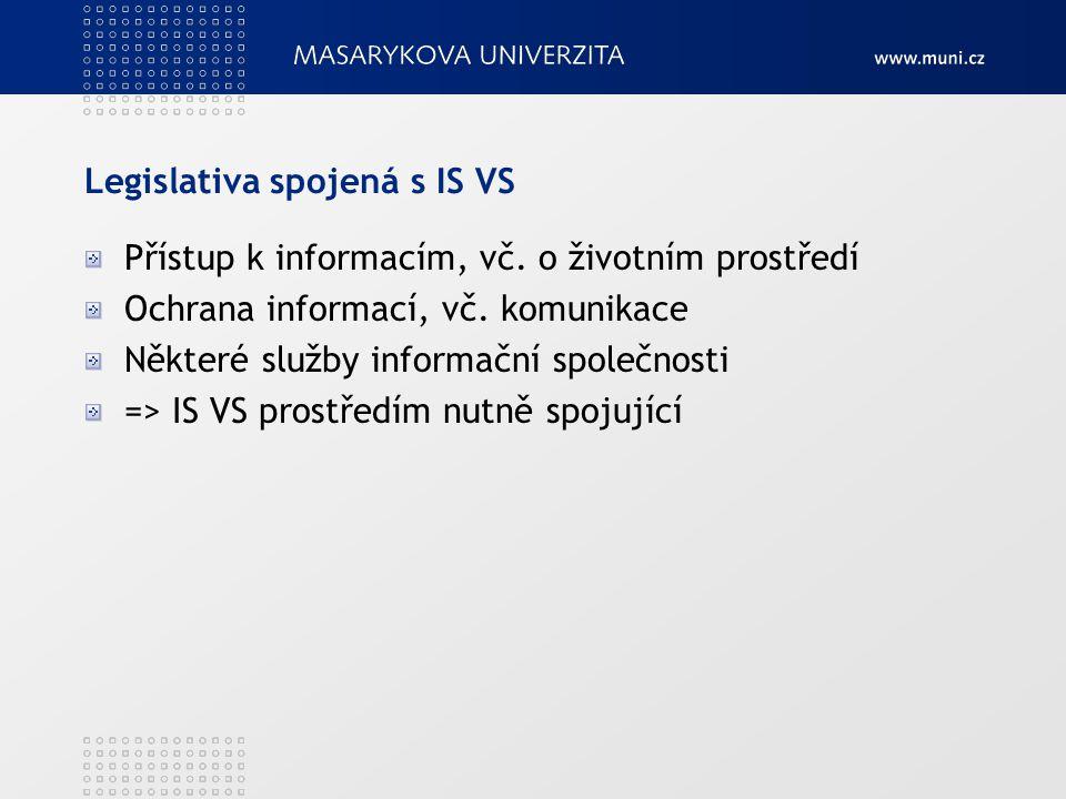 Legislativa spojená s IS VS Přístup k informacím, vč. o životním prostředí Ochrana informací, vč. komunikace Některé služby informační společnosti =>