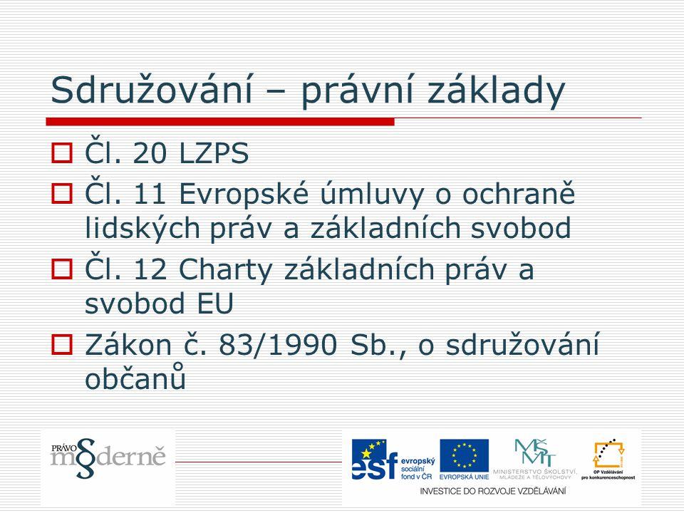 Sdružování – právní základy  Čl. 20 LZPS  Čl.