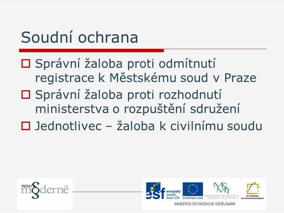 Soudní ochrana  Správní žaloba proti odmítnutí registrace k Městskému soud v Praze  Správní žaloba proti rozhodnutí ministerstva o rozpuštění sdružení  Jednotlivec – žaloba k civilnímu soudu