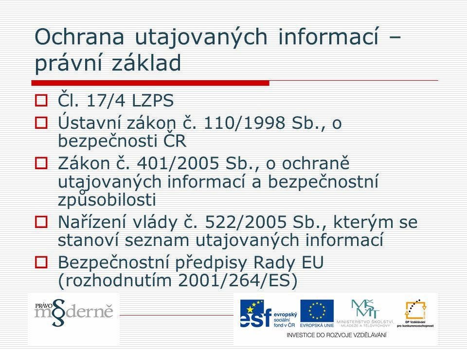 Ochrana utajovaných informací – právní základ  Čl.