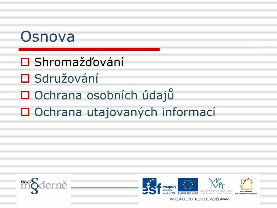 Shromažďování – právní základy  Čl.19 LZPS  Čl.