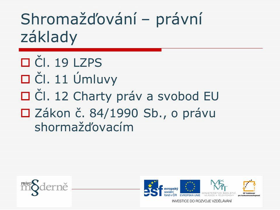 Shromažďování – právní základy  Čl. 19 LZPS  Čl.