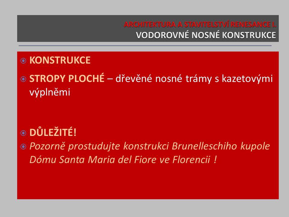  KONSTRUKCE  STROPY PLOCHÉ – dřevěné nosné trámy s kazetovými výplněmi  DŮLEŽITÉ!  Pozorně prostudujte konstrukci Brunelleschiho kupole Dómu Santa