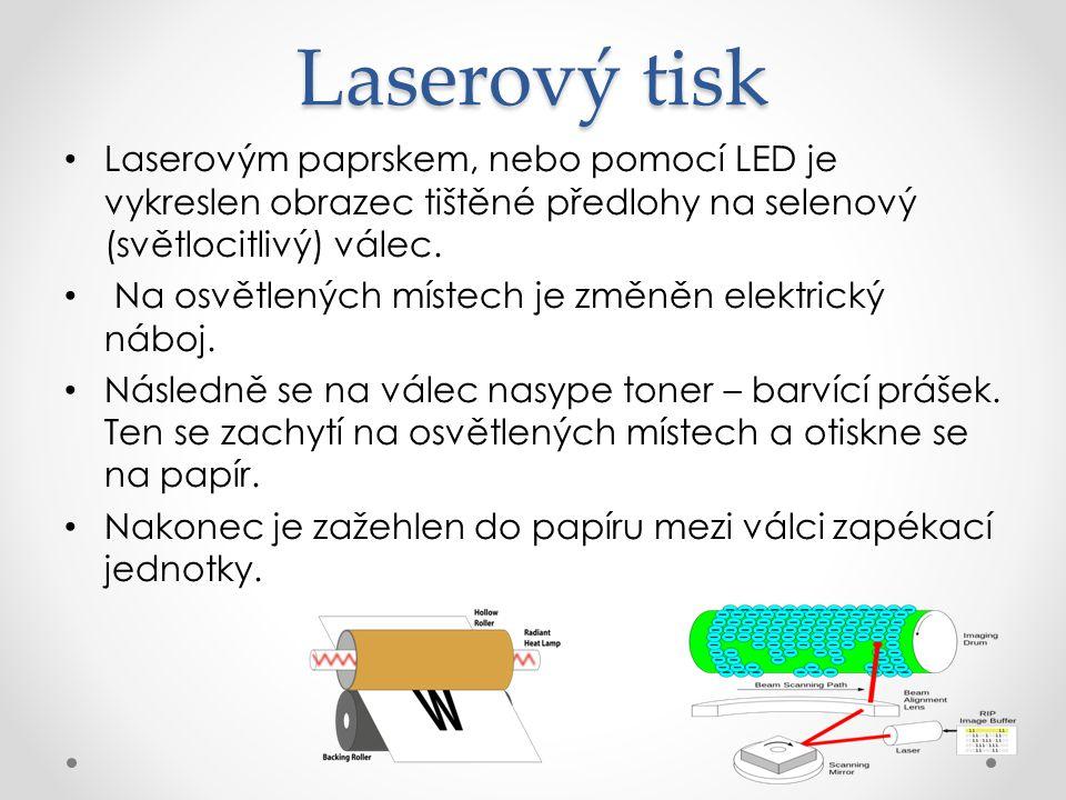 Laserový tisk Laserovým paprskem, nebo pomocí LED je vykreslen obrazec tištěné předlohy na selenový (světlocitlivý) válec.
