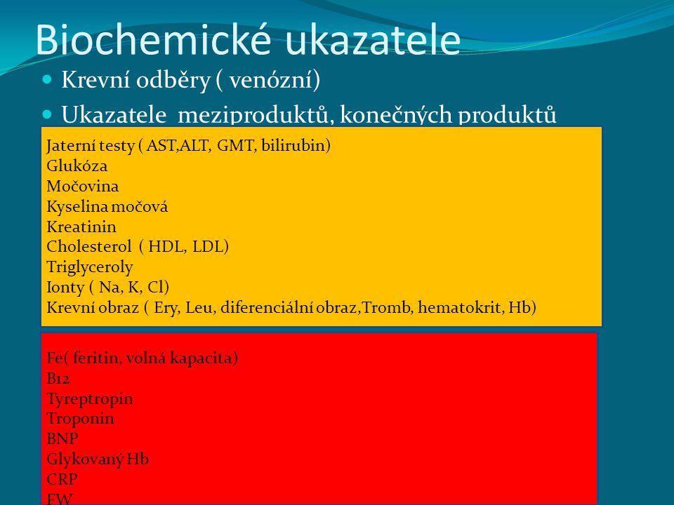 Biochemické ukazatele Krevní odběry ( venózní) Ukazatele meziproduktů, konečných produktů Jaterní testy ( AST,ALT, GMT, bilirubin) Glukóza Močovina Ky