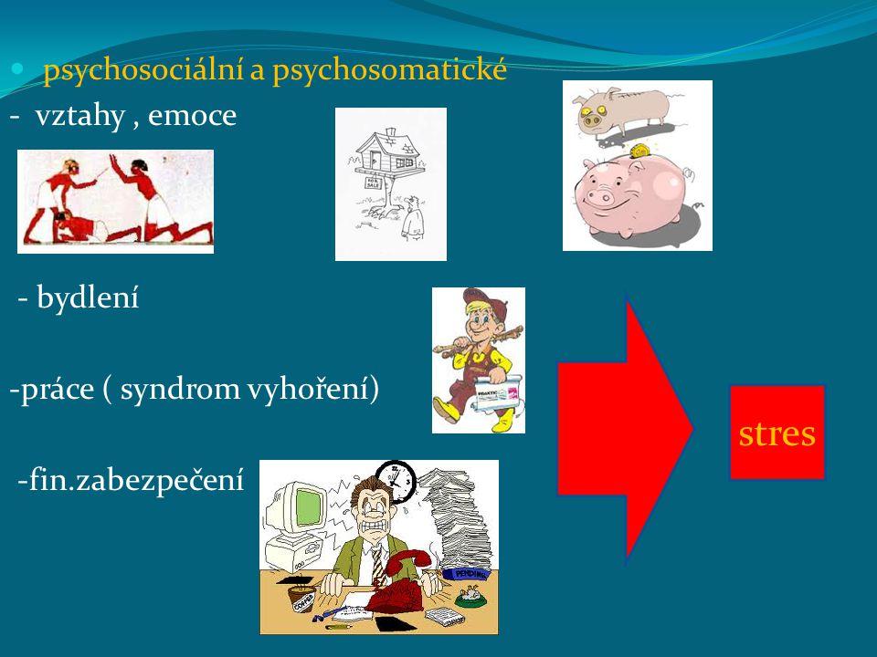 psychosociální a psychosomatické - vztahy, emoce - bydlení -práce ( syndrom vyhoření) -fin.zabezpečení stres