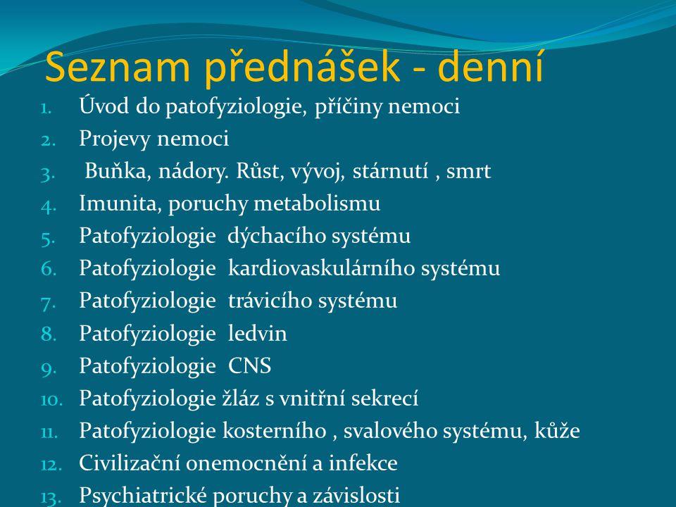 Seznam přednášek - denní 1. Úvod do patofyziologie, příčiny nemoci 2. Projevy nemoci 3. Buňka, nádory. Růst, vývoj, stárnutí, smrt 4. Imunita, poruchy