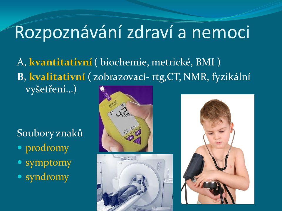 Rozpoznávání zdraví a nemoci A, kvantitativní ( biochemie, metrické, BMI ) B, kvalitativní ( zobrazovací- rtg,CT, NMR, fyzikální vyšetření…) Soubory z