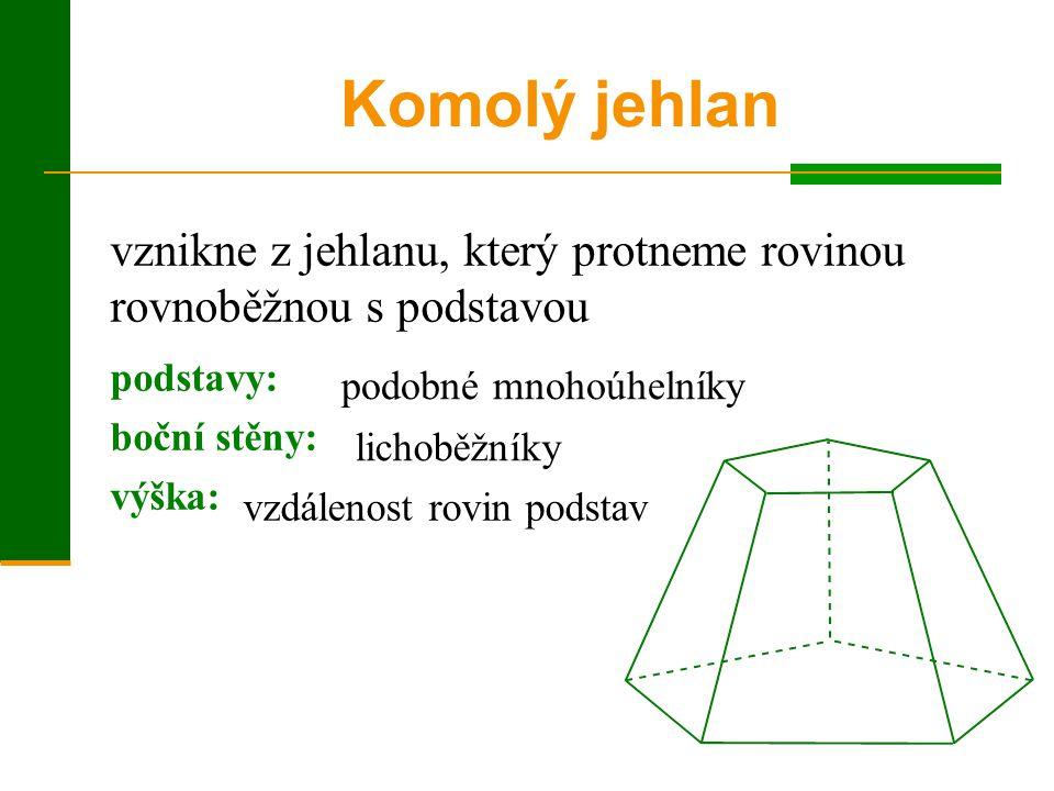 vznikne z jehlanu, který protneme rovinou rovnoběžnou s podstavou Komolý jehlan podstavy: boční stěny: výška: podobné mnohoúhelníky lichoběžníky vzdál