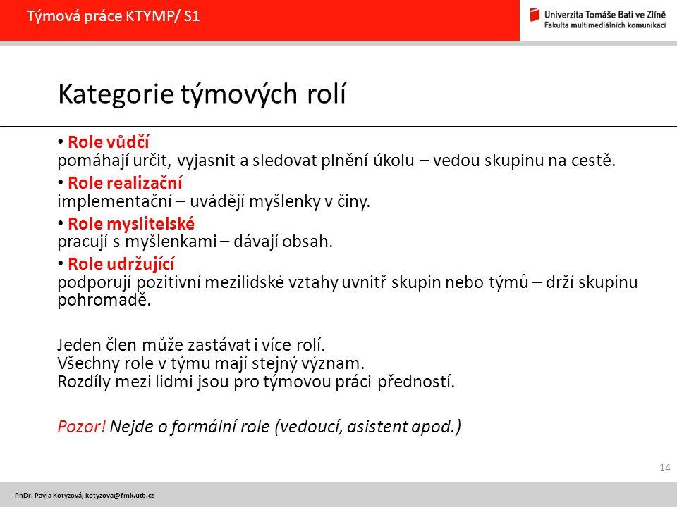 PhDr. Pavla Kotyzová, kotyzova@fmk.utb.cz Týmová práce KTYMP/ S1 Kategorie týmových rolí Role vůdčí pomáhají určit, vyjasnit a sledovat plnění úkolu –