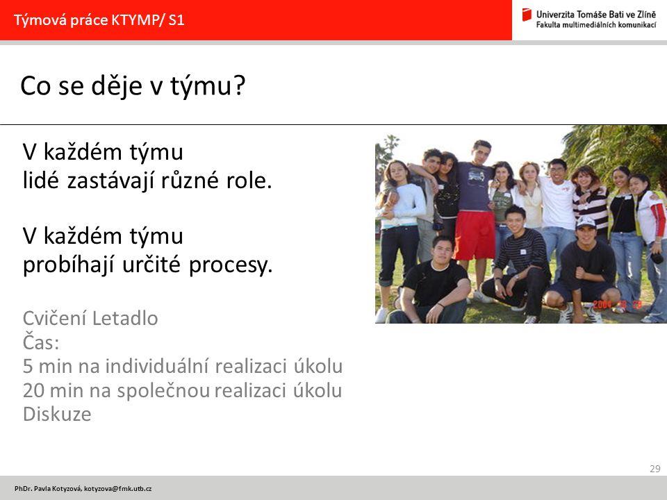 29 PhDr. Pavla Kotyzová, kotyzova@fmk.utb.cz Co se děje v týmu? Týmová práce KTYMP/ S1 V každém týmu lidé zastávají různé role. V každém týmu probíhaj