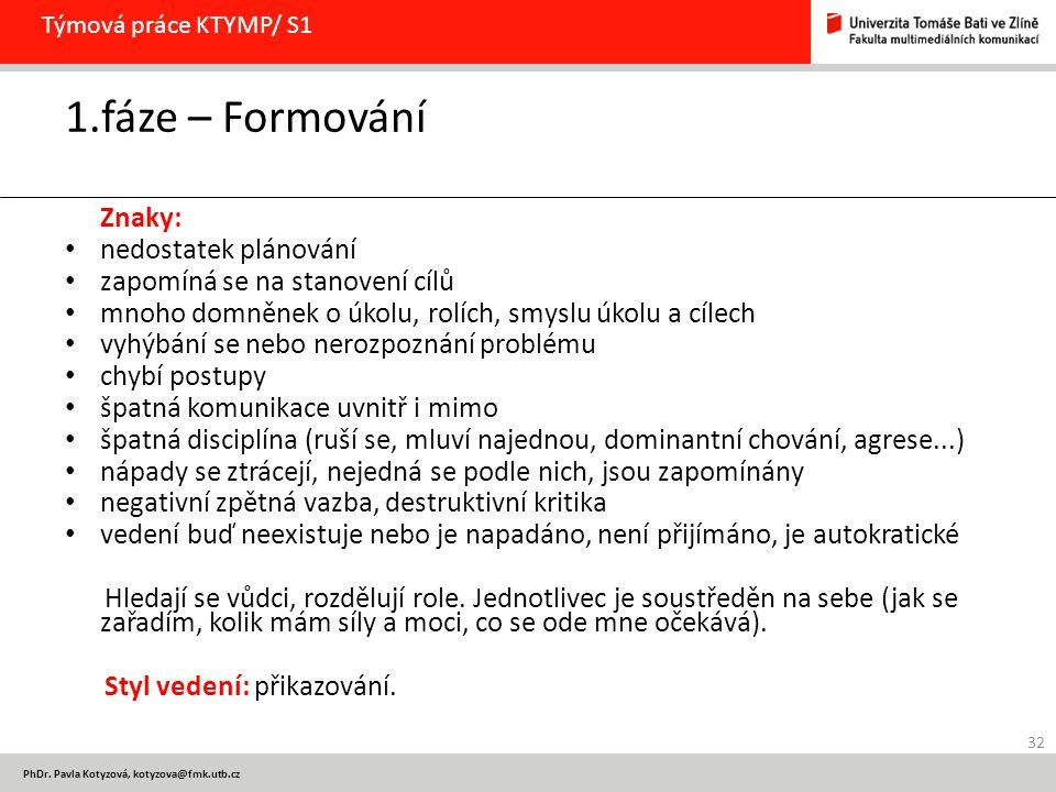 PhDr. Pavla Kotyzová, kotyzova@fmk.utb.cz Týmová práce KTYMP/ S1 1.fáze – Formování Znaky: nedostatek plánování zapomíná se na stanovení cílů mnoho do