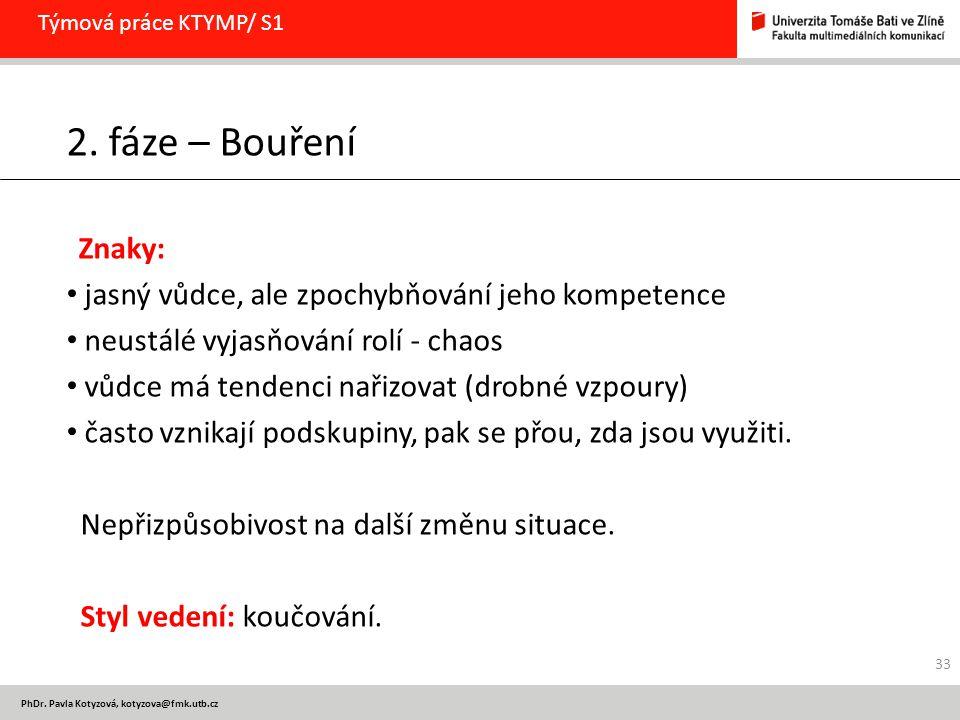PhDr. Pavla Kotyzová, kotyzova@fmk.utb.cz Týmová práce KTYMP/ S1 2. fáze – Bouření Znaky: jasný vůdce, ale zpochybňování jeho kompetence neustálé vyja