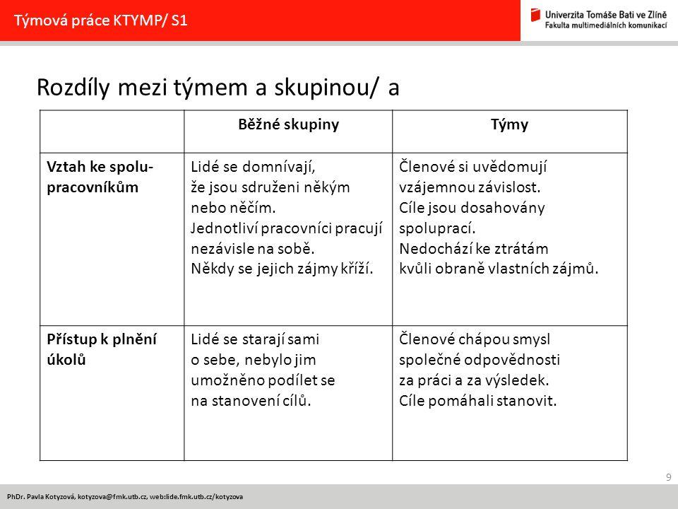 9 PhDr. Pavla Kotyzová, kotyzova@fmk.utb.cz, web:lide.fmk.utb.cz/kotyzova Rozdíly mezi týmem a skupinou/ a Týmová práce KTYMP/ S1 Běžné skupinyTýmy Vz