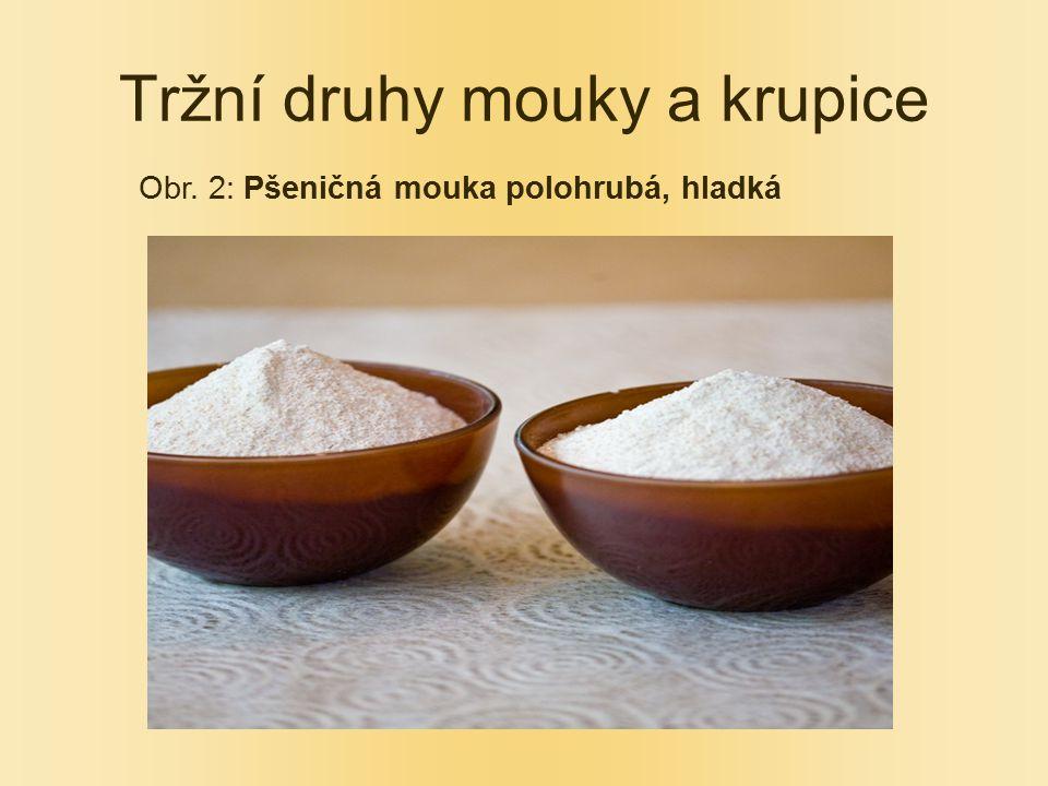 Tržní druhy mouky a krupice Obr. 2: Pšeničná mouka polohrubá, hladká