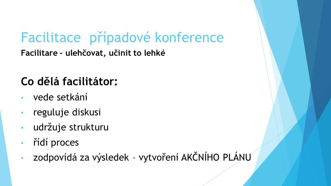 Facilitace případové konference Facilitare – ulehčovat, učinit to lehké Co dělá facilitátor: vede setkání reguluje diskusi udržuje strukturu řídí proc