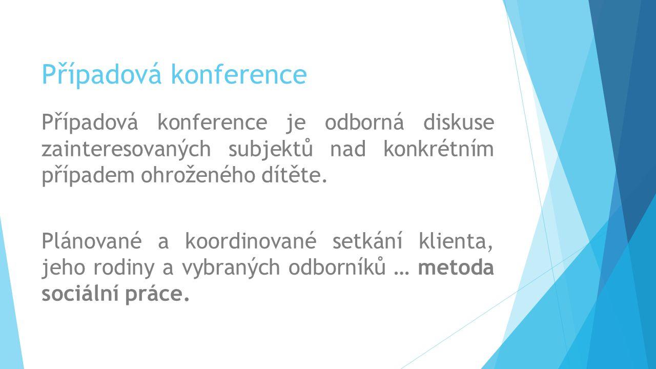 Případová konference Případová konference je odborná diskuse zainteresovaných subjektů nad konkrétním případem ohroženého dítěte. Plánované a koordino