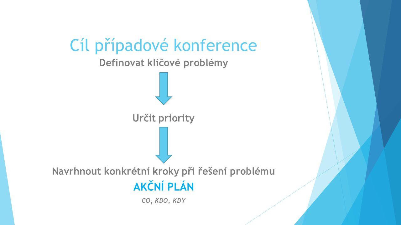 Cíl případové konference Definovat klíčové problémy Určit priority Navrhnout konkrétní kroky při řešení problému AKČNÍ PLÁN CO, KDO, KDY