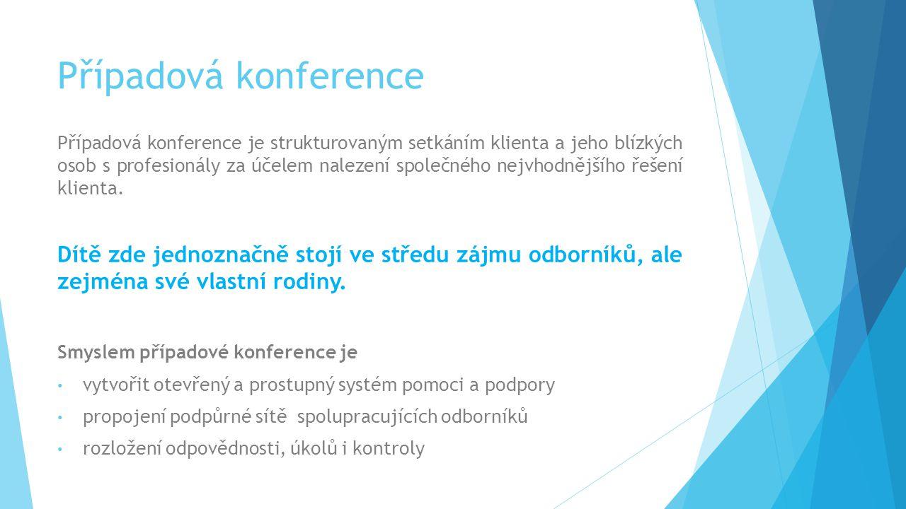 Případová konference Případová konference je strukturovaným setkáním klienta a jeho blízkých osob s profesionály za účelem nalezení společného nejvhod