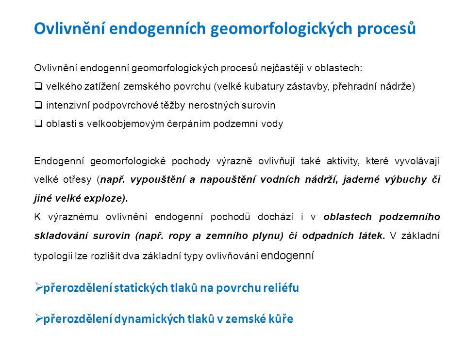 Ovlivnění endogenních geomorfologických procesů Ovlivnění endogenní geomorfologických procesů nejčastěji v oblastech:  velkého zatížení zemského povr