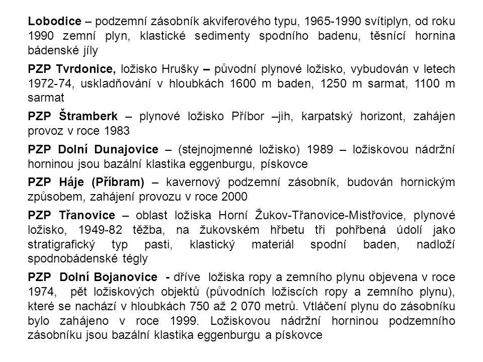Lobodice – podzemní zásobník akviferového typu, 1965-1990 svítiplyn, od roku 1990 zemní plyn, klastické sedimenty spodního badenu, těsnící hornina bád