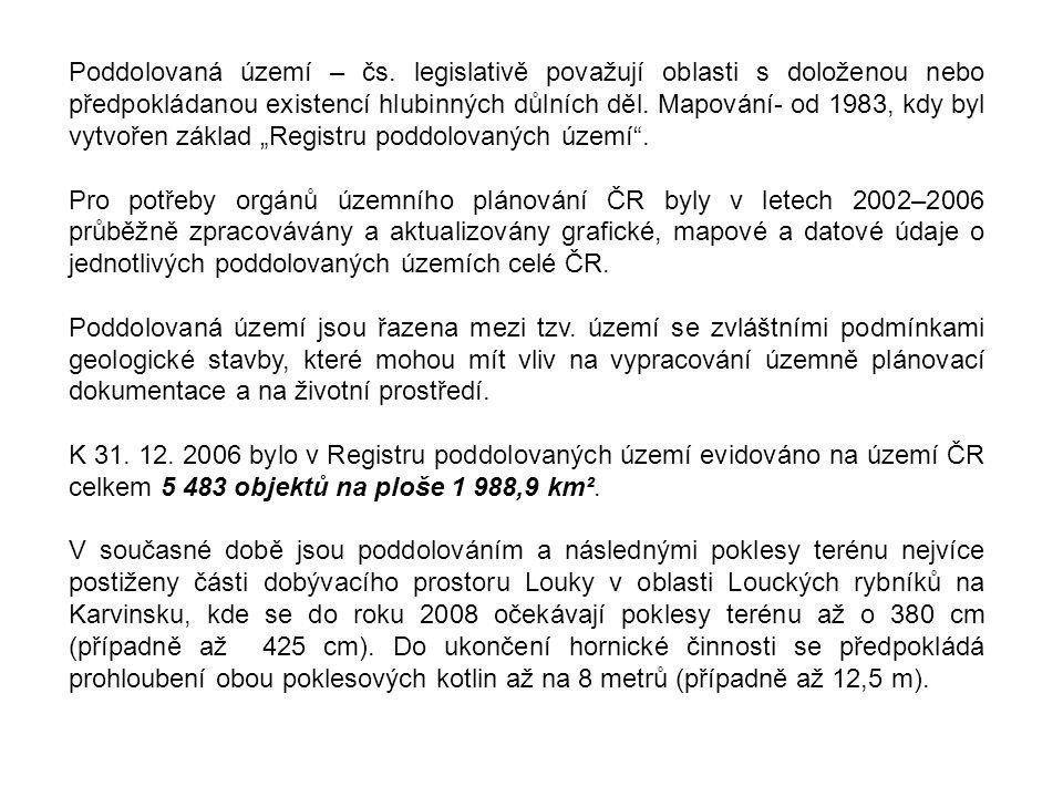 Poddolovaná území – čs. legislativě považují oblasti s doloženou nebo předpokládanou existencí hlubinných důlních děl. Mapování- od 1983, kdy byl vytv