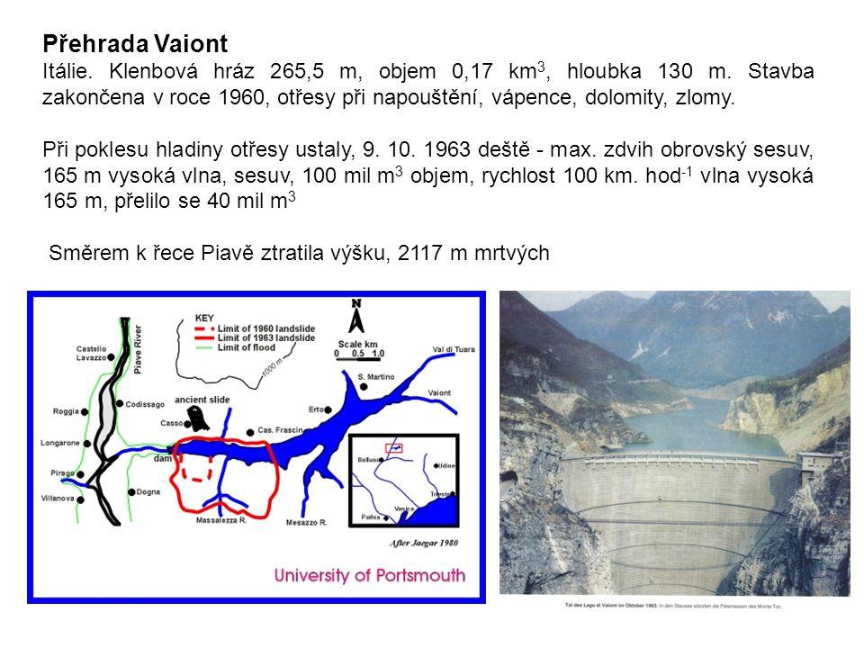 Přehrada Vaiont Itálie. Klenbová hráz 265,5 m, objem 0,17 km 3, hloubka 130 m. Stavba zakončena v roce 1960, otřesy při napouštění, vápence, dolomity,