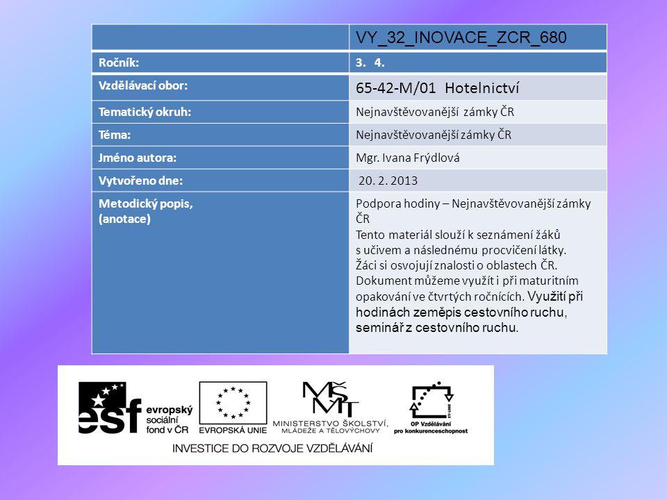 VY_32_INOVACE_ZCR_680 Ročník:3. 4. Vzdělávací obor: 65-42-M/01 Hotelnictví Tematický okruh:Nejnavštěvovanější zámky ČR Téma:Nejnavštěvovanější zámky Č