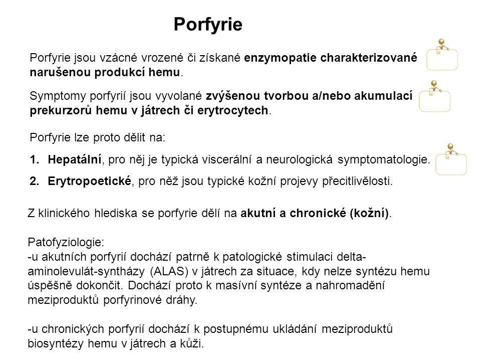 Porfyrie lze proto dělit na: 1.Hepatální, pro něj je typická viscerální a neurologická symptomatologie. 2.Erytropoetické, pro něž jsou typické kožní p