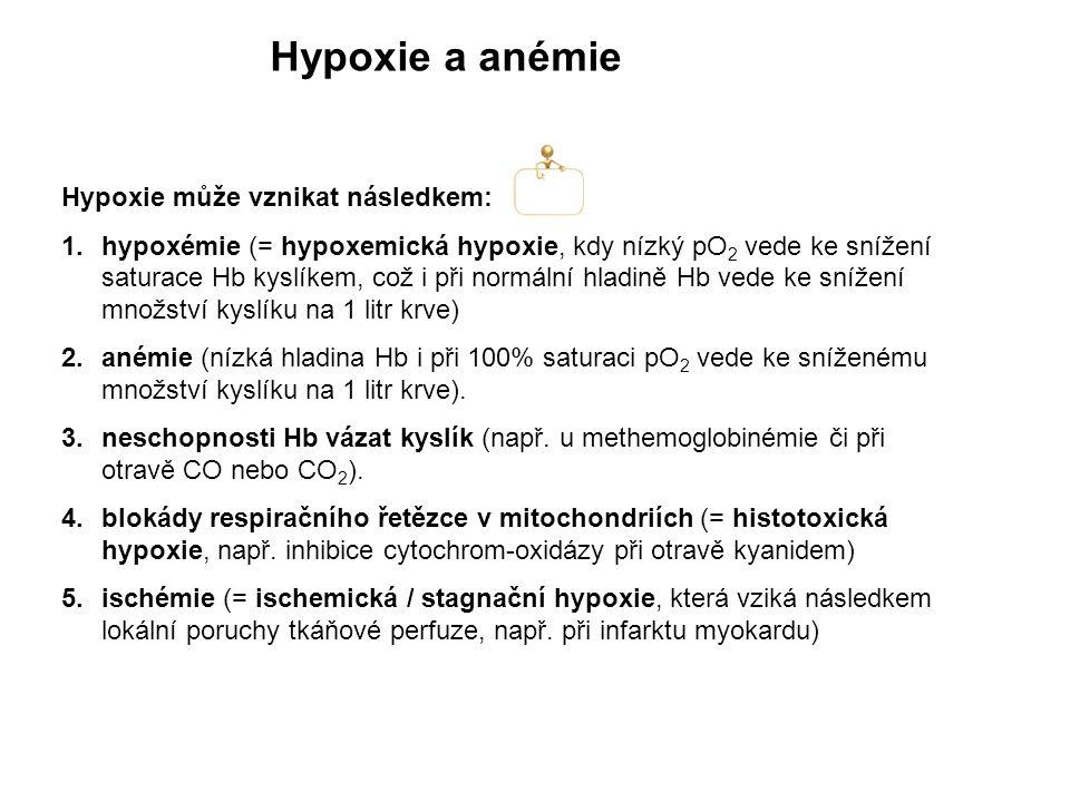 Hypoxie a anémie Hypoxie může vznikat následkem: 1.hypoxémie (= hypoxemická hypoxie, kdy nízký pO 2 vede ke snížení saturace Hb kyslíkem, což i při no