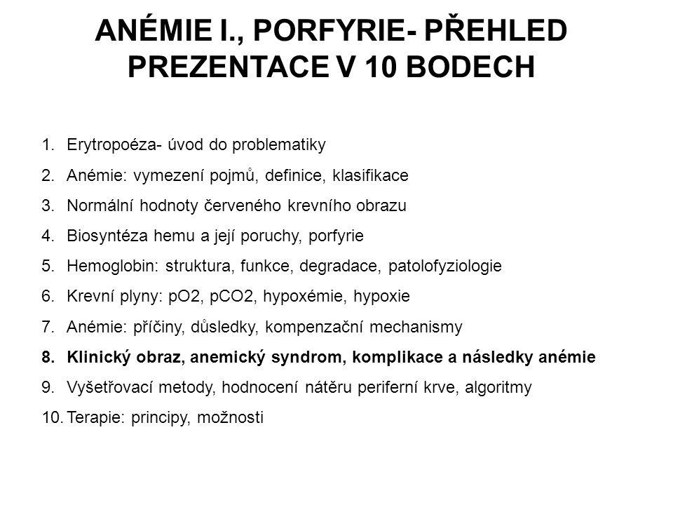 ANÉMIE I., PORFYRIE- PŘEHLED PREZENTACE V 10 BODECH 1.Erytropoéza- úvod do problematiky 2.Anémie: vymezení pojmů, definice, klasifikace 3.Normální hod