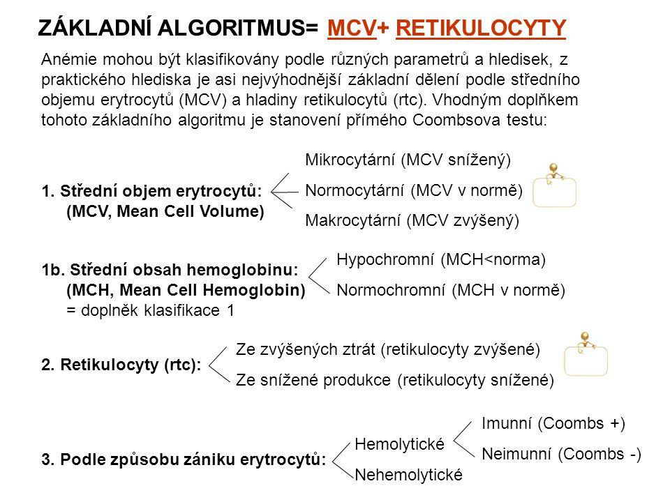 ZÁKLADNÍ ALGORITMUS= MCV+ RETIKULOCYTY Anémie mohou být klasifikovány podle různých parametrů a hledisek, z praktického hlediska je asi nejvýhodnější