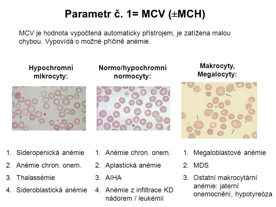 Parametr č. 1= MCV (±MCH) MCV je hodnota vypočtená automaticky přístrojem, je zatížena malou chybou. Vypovídá o možné příčině anémie. Normo/hypochromn