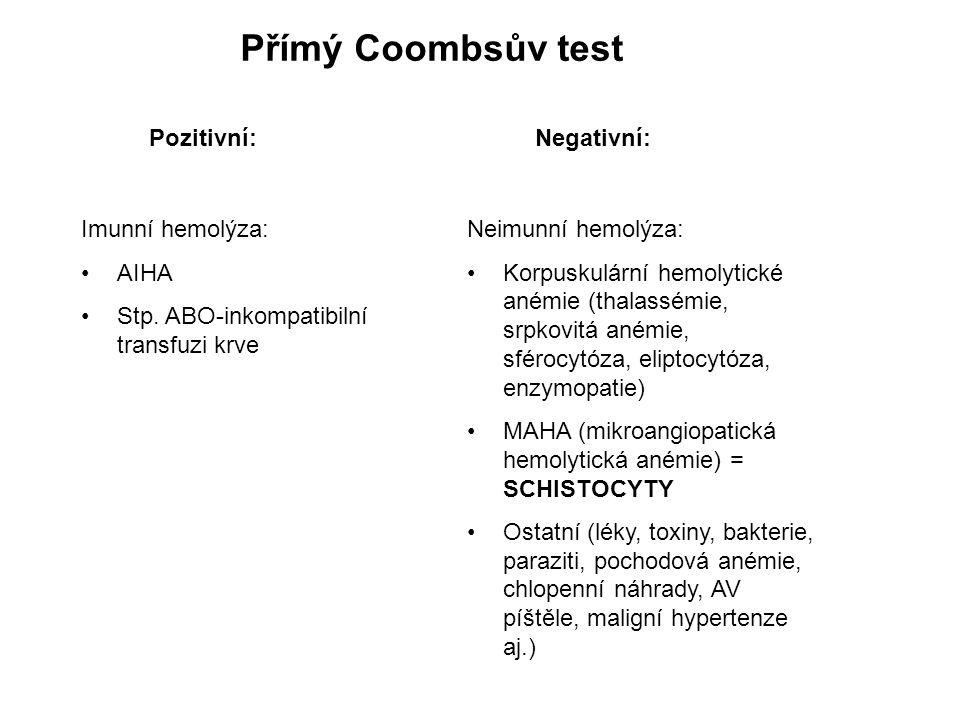Přímý Coombsův test Pozitivní:Negativní: Imunní hemolýza: AIHA Stp. ABO-inkompatibilní transfuzi krve Neimunní hemolýza: Korpuskulární hemolytické ané