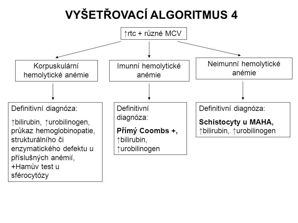 Korpuskulární hemolytické anémie Definitivní diagnóza: ↑bilirubin, ↑urobilinogen, průkaz hemoglobinopatie, strukturálního či enzymatického defektu u p