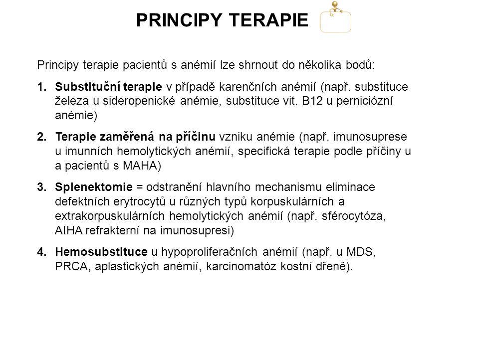 PRINCIPY TERAPIE Principy terapie pacientů s anémií lze shrnout do několika bodů: 1.Substituční terapie v případě karenčních anémií (např. substituce