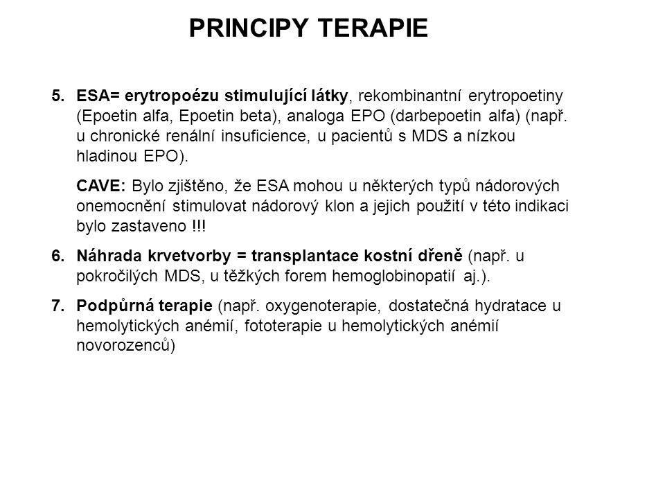 5.ESA= erytropoézu stimulující látky, rekombinantní erytropoetiny (Epoetin alfa, Epoetin beta), analoga EPO (darbepoetin alfa) (např. u chronické rená