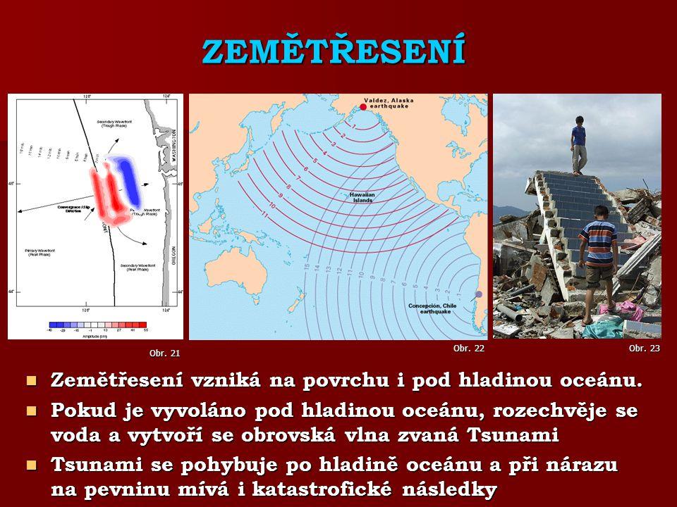 ZEMĚTŘESENÍ Zemětřesení vzniká na povrchu i pod hladinou oceánu.