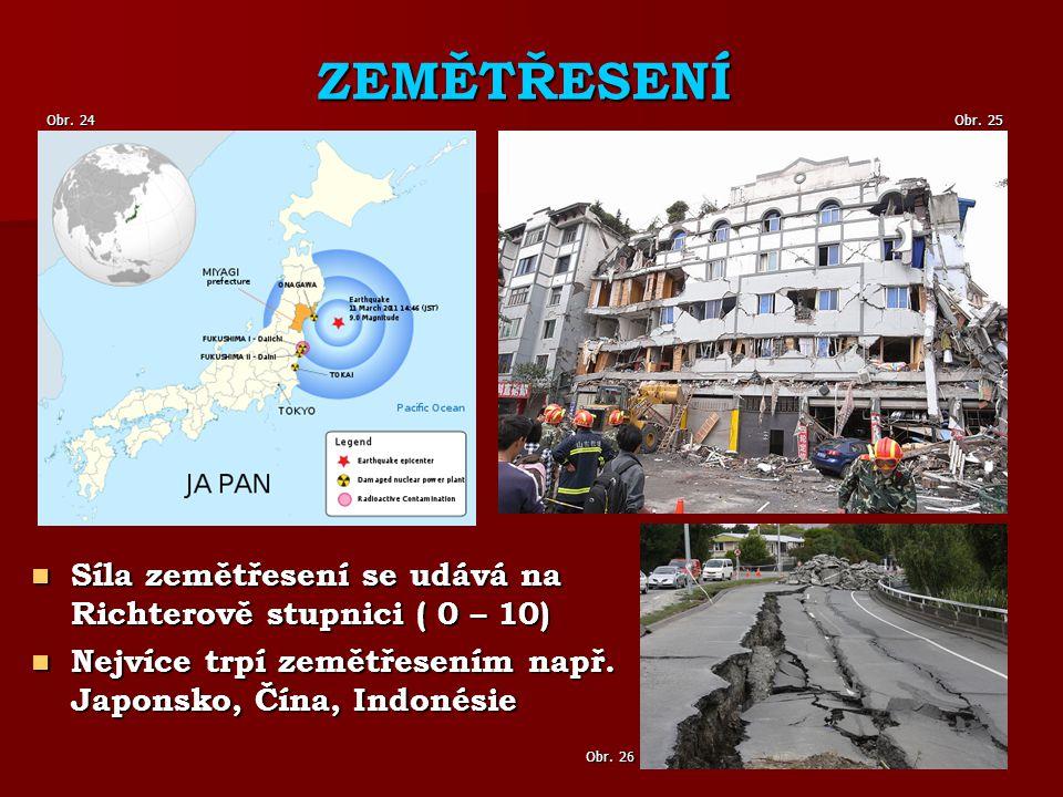 ZEMĚTŘESENÍ Síla zemětřesení se udává na Richterově stupnici ( 0 – 10) Síla zemětřesení se udává na Richterově stupnici ( 0 – 10) Nejvíce trpí zemětřesením např.