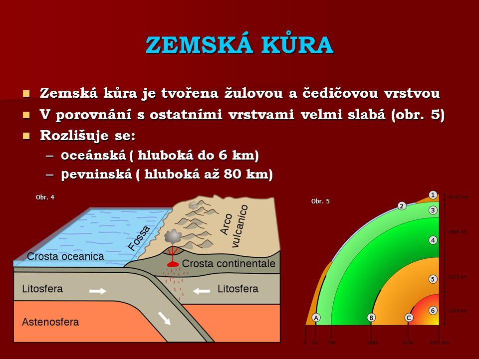 ZEMSKÁ KŮRA Zemská kůra je tvořena žulovou a čedičovou vrstvou Zemská kůra je tvořena žulovou a čedičovou vrstvou V porovnání s ostatními vrstvami velmi slabá (obr.