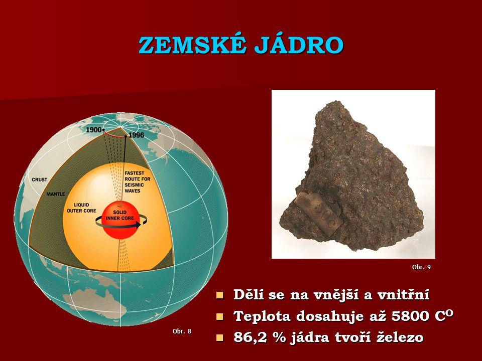 ZEMSKÉ JÁDRO Dělí se na vnější a vnitřní Dělí se na vnější a vnitřní Teplota dosahuje až 5800 C O Teplota dosahuje až 5800 C O 86,2 % jádra tvoří železo 86,2 % jádra tvoří železo Obr.