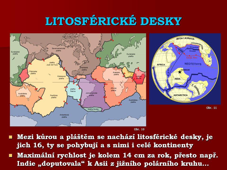 LITOSFÉRICKÉ DESKY Mezi kůrou a pláštěm se nachází litosférické desky, je jich 16, ty se pohybují a s nimi i celé kontinenty Mezi kůrou a pláštěm se nachází litosférické desky, je jich 16, ty se pohybují a s nimi i celé kontinenty Maximální rychlost je kolem 14 cm za rok, přesto např.