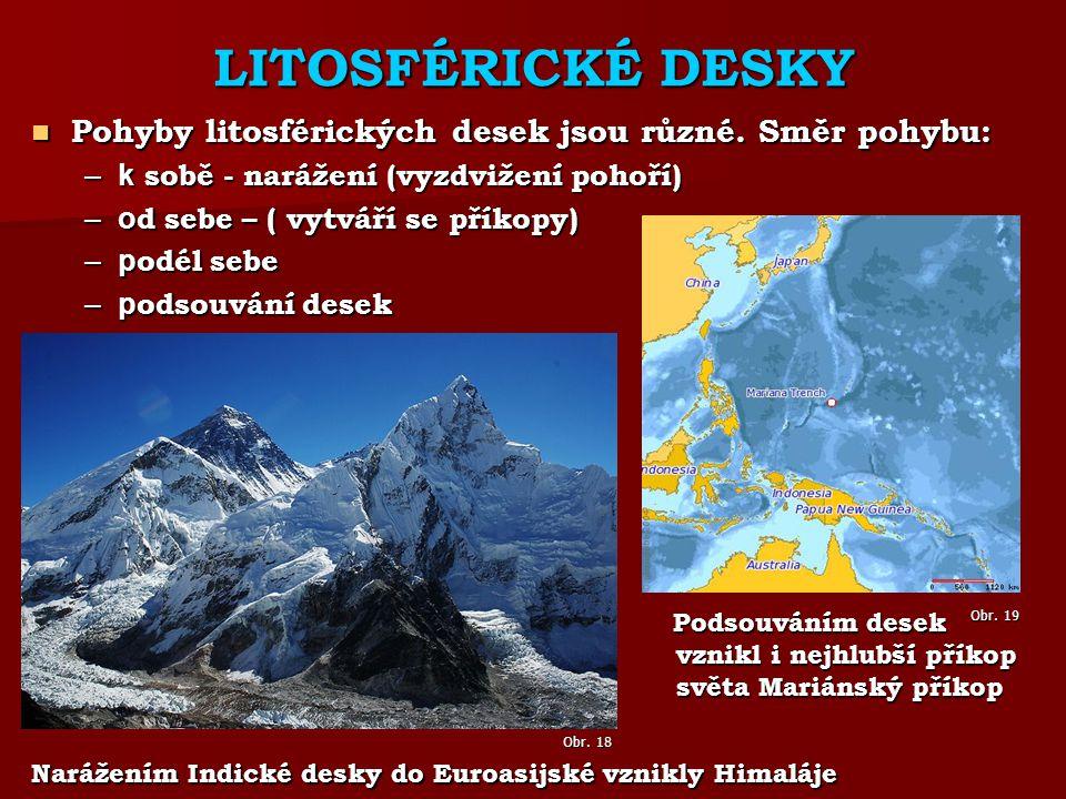 LITOSFÉRICKÉ DESKY Pohyby litosférických desek jsou různé.