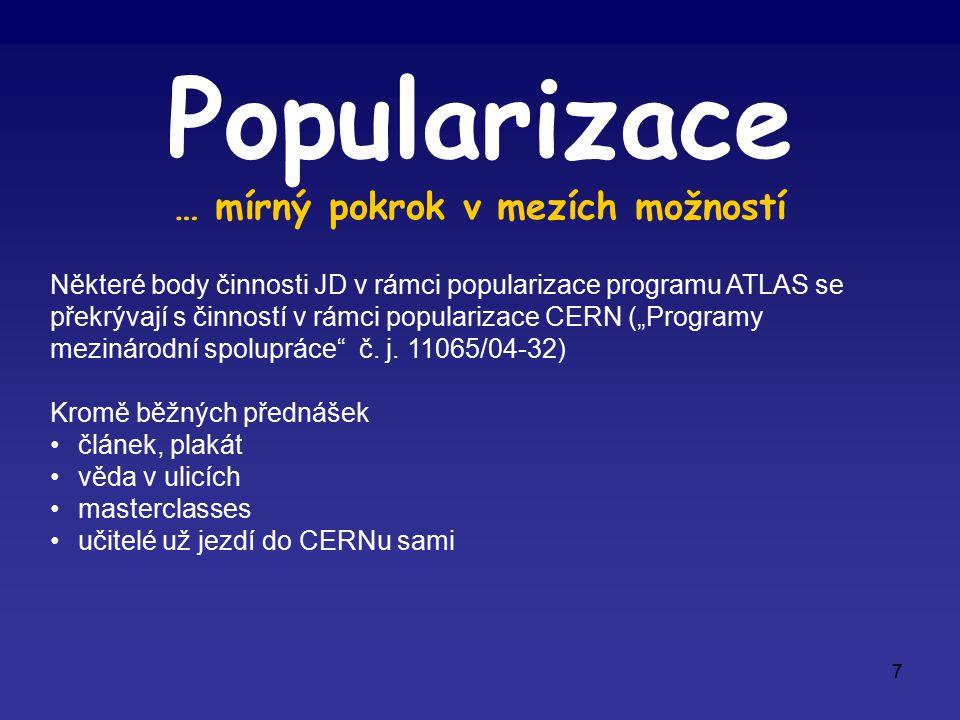 """7 Popularizace … mírný pokrok v mezích možností Některé body činnosti JD v rámci popularizace programu ATLAS se překrývají s činností v rámci popularizace CERN (""""Programy mezinárodní spolupráce č."""