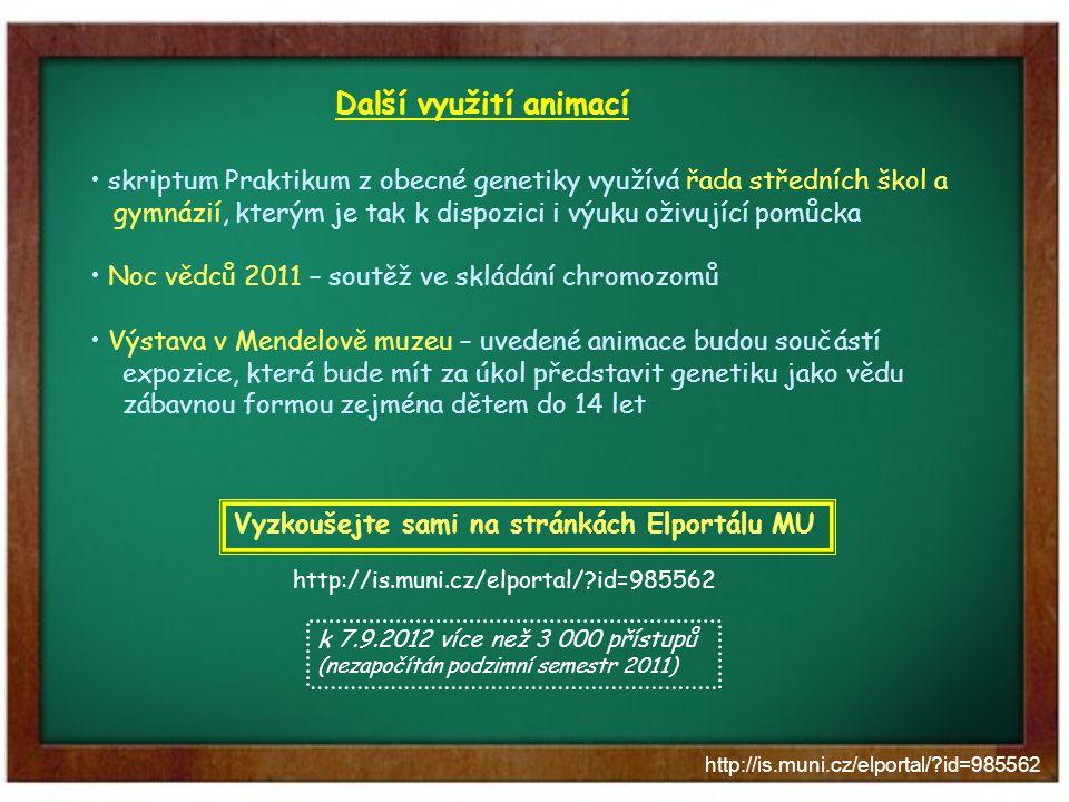 http://is.muni.cz/elportal/?id=985562 Další využití animací skriptum Praktikum z obecné genetiky využívá řada středních škol a gymnázií, kterým je tak