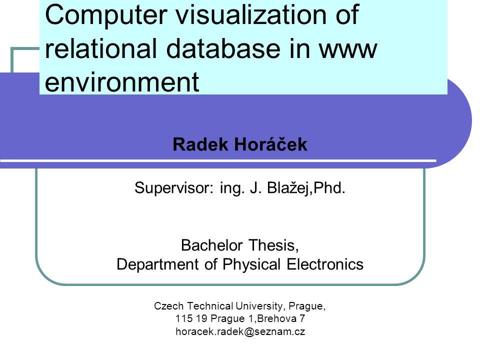 Computer visualization of relational database in www environment Radek Horáček Supervisor: ing.