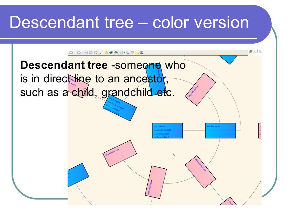 Descendant tree – color version Descendant tree -someone who is in direct line to an ancestor, such as a child, grandchild etc.