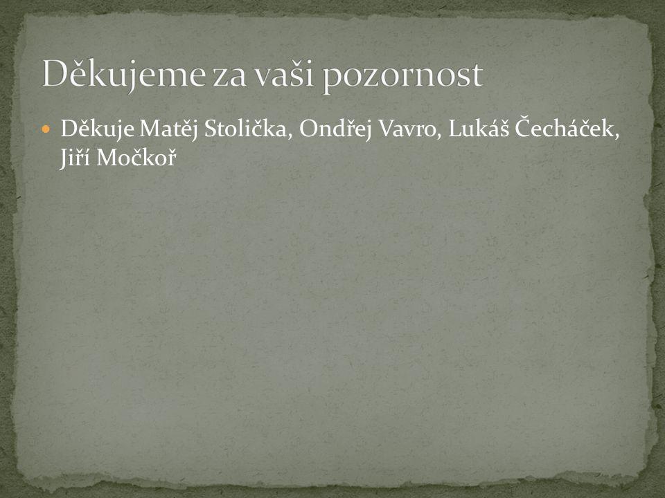 Děkuje Matěj Stolička, Ondřej Vavro, Lukáš Čecháček, Jiří Močkoř